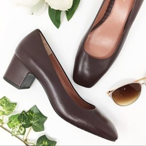BROOKS BROTHERS leather heels square toe burgundy